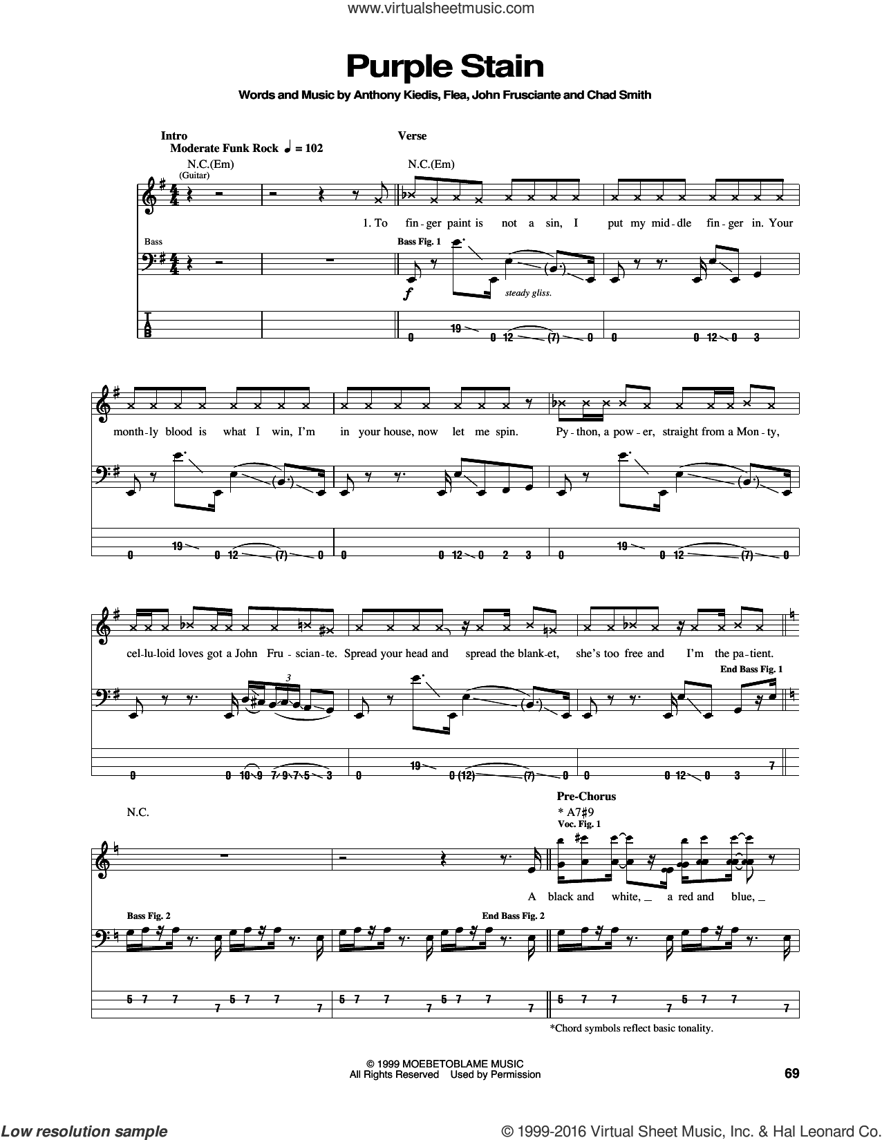 Purple Stain sheet music for bass (tablature) (bass guitar) by Red Hot Chili Peppers, Anthony Kiedis, Chad Smith, Flea and John Frusciante, intermediate. Score Image Preview.