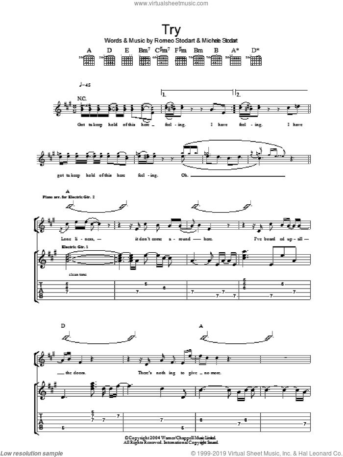 Try sheet music for guitar (tablature) by The Magic Numbers and Romeo Stodart, intermediate skill level