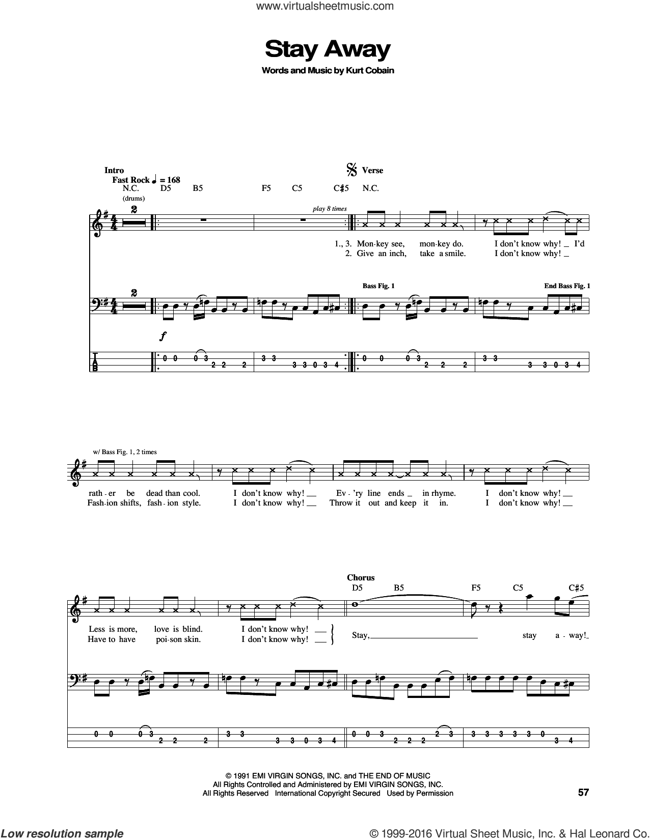 Stay Away sheet music for bass (tablature) (bass guitar) by Nirvana and Kurt Cobain, intermediate skill level