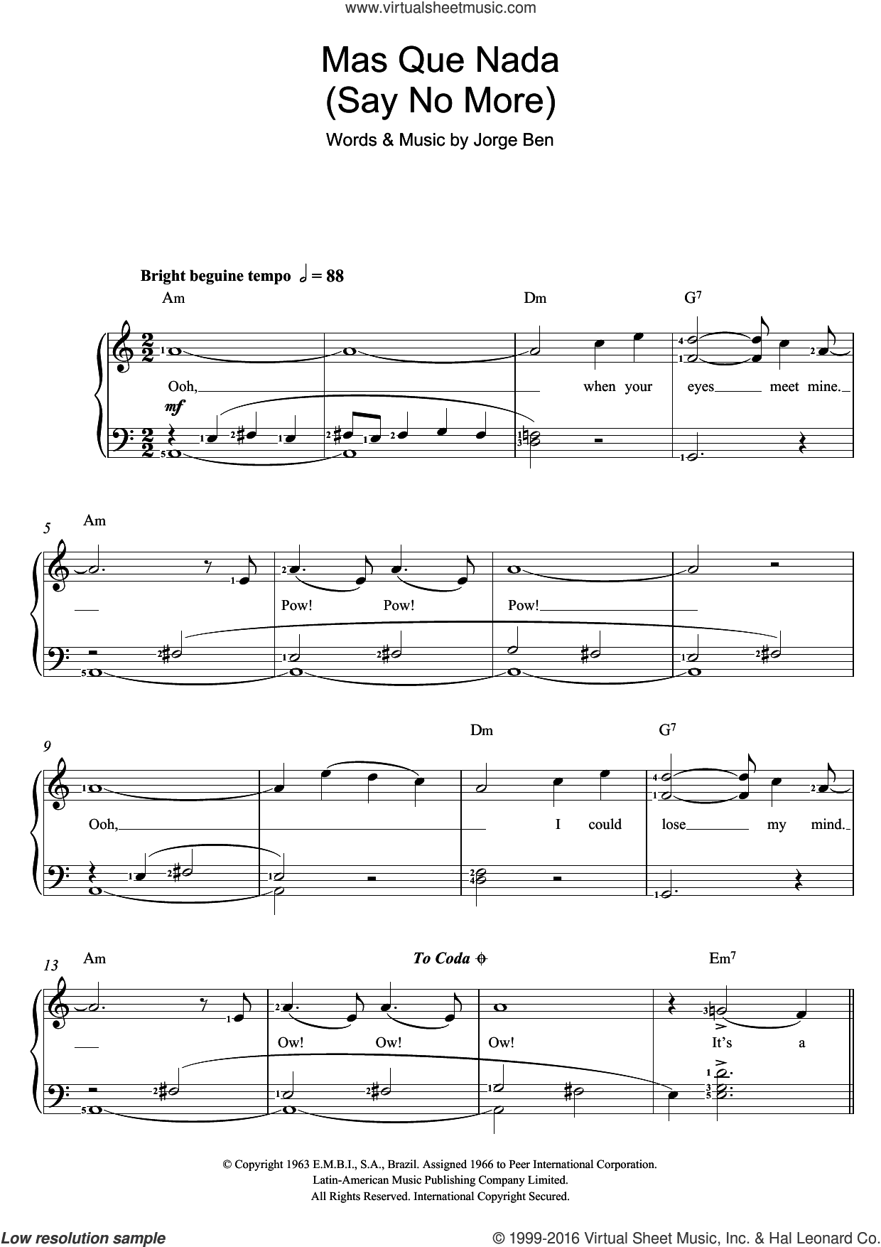 Mas Que Nada (Say No More) sheet music for voice, piano or guitar by Jorge Ben. Score Image Preview.