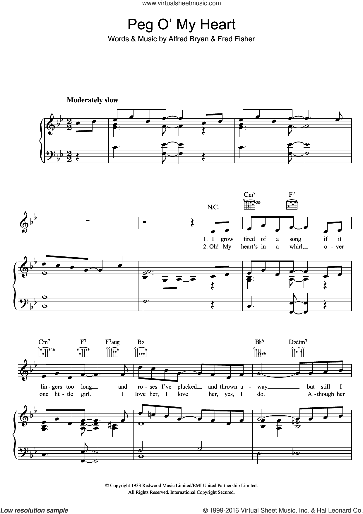Peg O' My Heart sheet music for voice, piano or guitar by Max Harris, Alfred Bryan and Fred Fisher, intermediate skill level