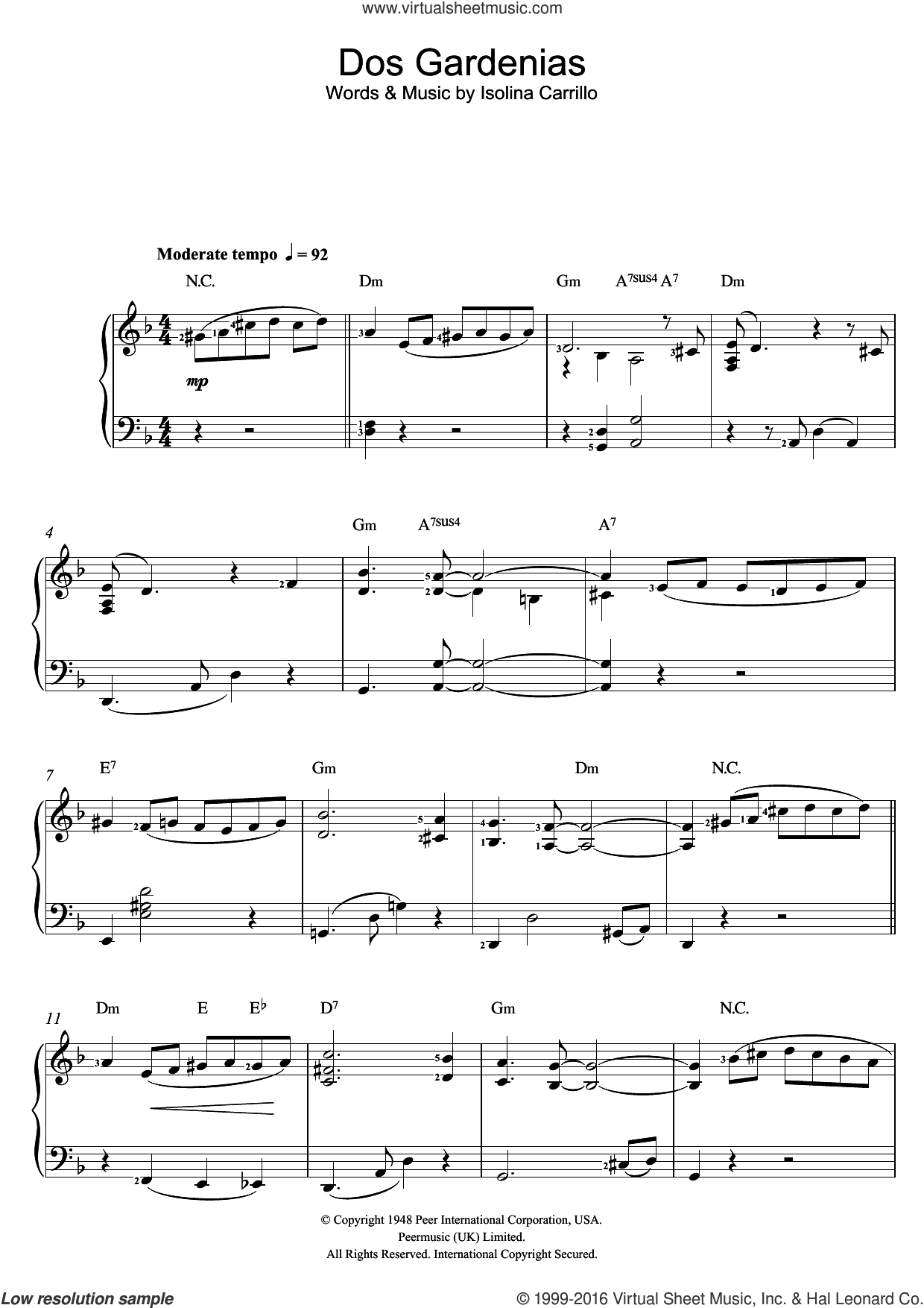 Dos Gardenias sheet music for piano solo by Buena Vista Social Club and Isolina Carrillo, easy. Score Image Preview.
