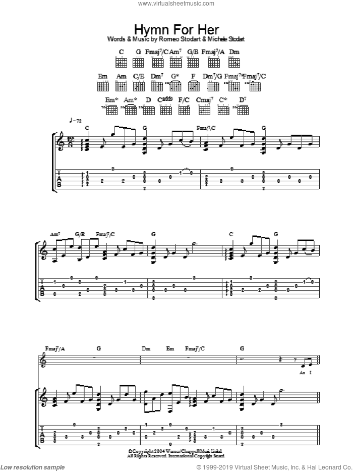 Hymn For Her sheet music for guitar (tablature) by Romeo Stodart. Score Image Preview.