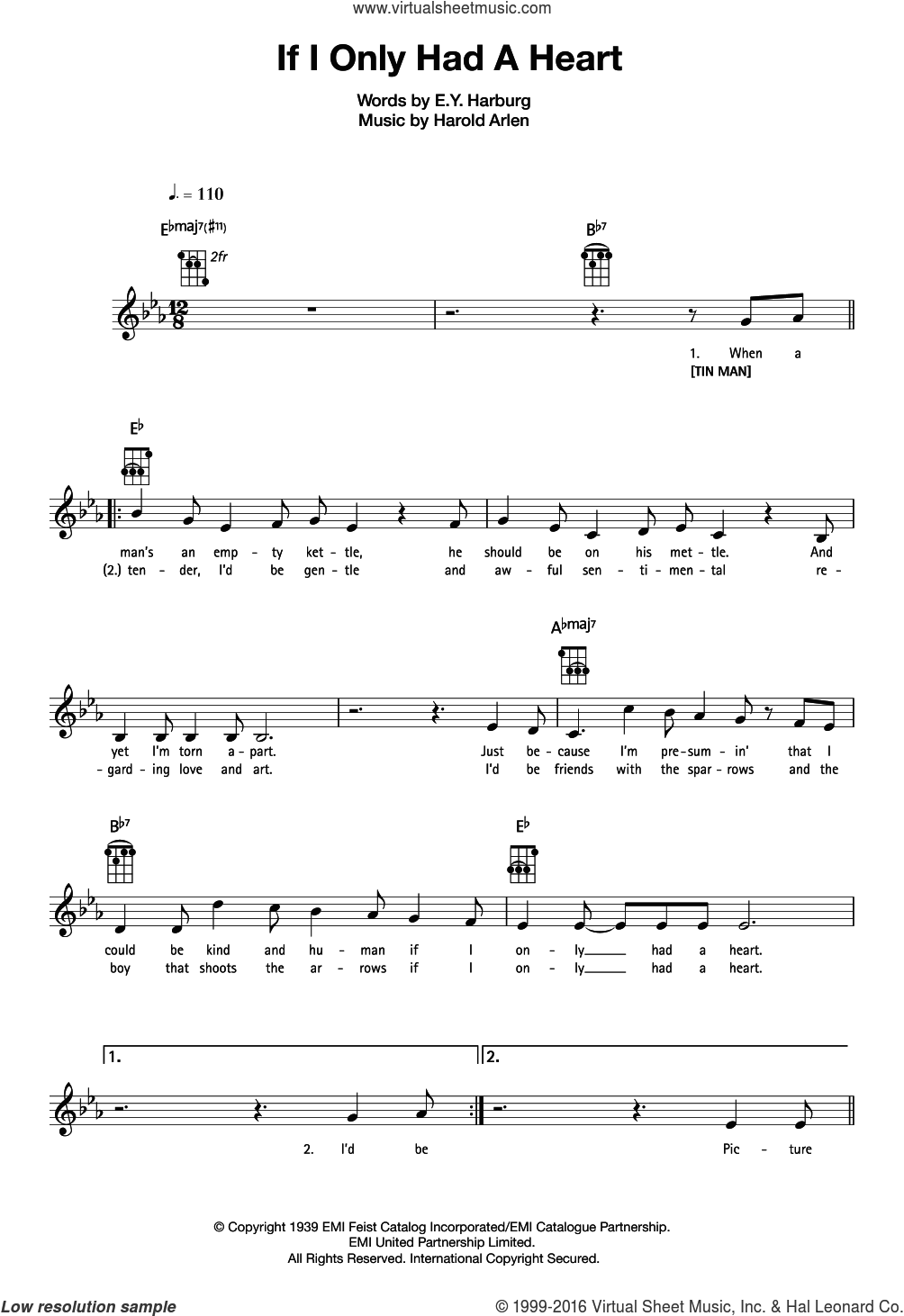 If I Only Had A Heart sheet music for ukulele by Harold Arlen and E.Y. Harburg, intermediate skill level
