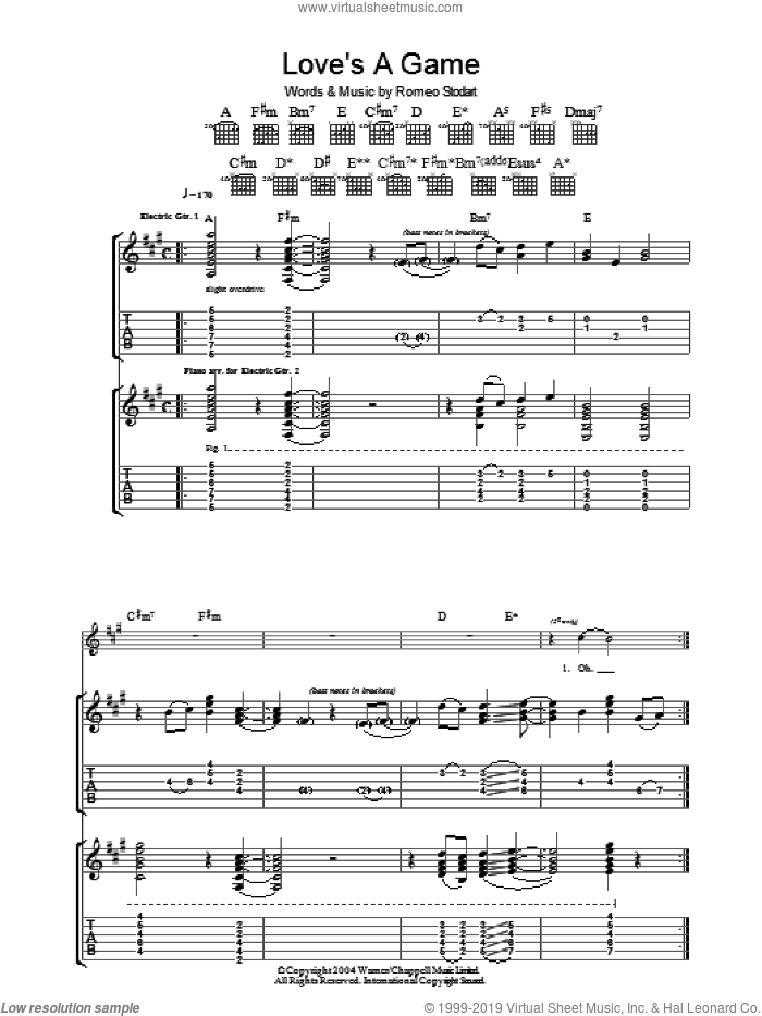 Love's A Game sheet music for guitar (tablature) by Romeo Stodart