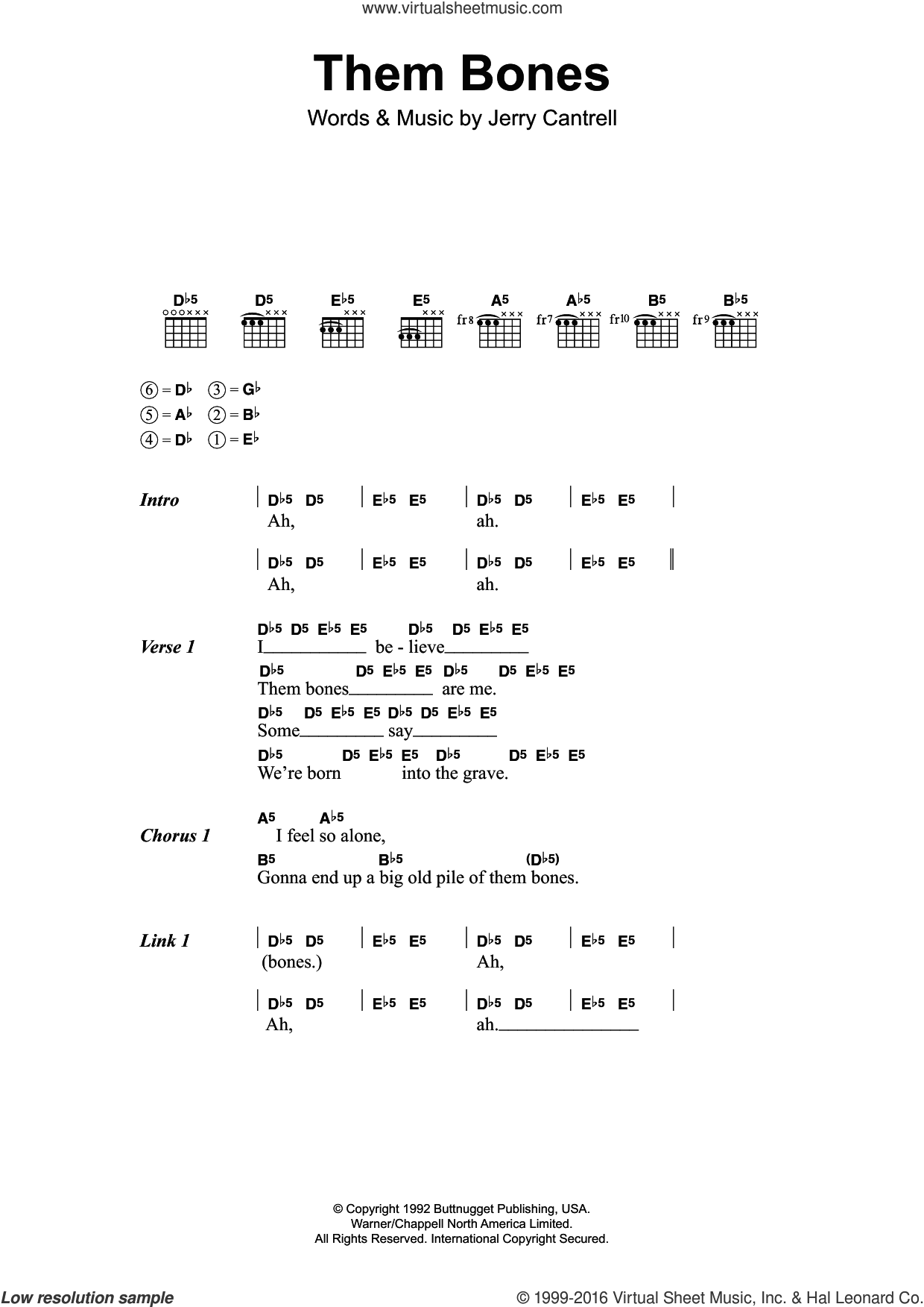 Them Bones sheet music for guitar (chords) by Alice In Chains, intermediate guitar (chords). Score Image Preview.