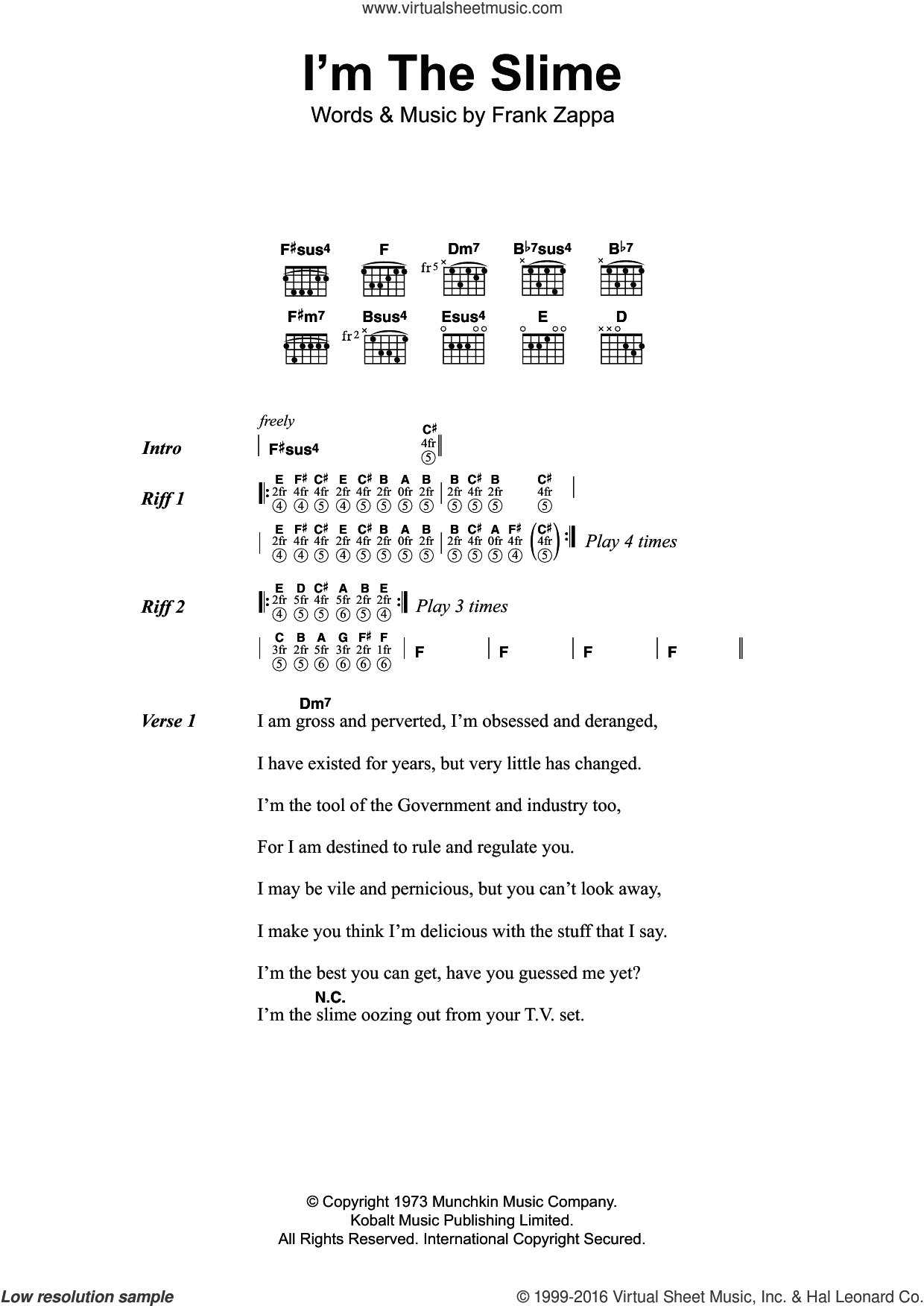 I'm The Slime sheet music for guitar (chords) by Frank Zappa, intermediate. Score Image Preview.