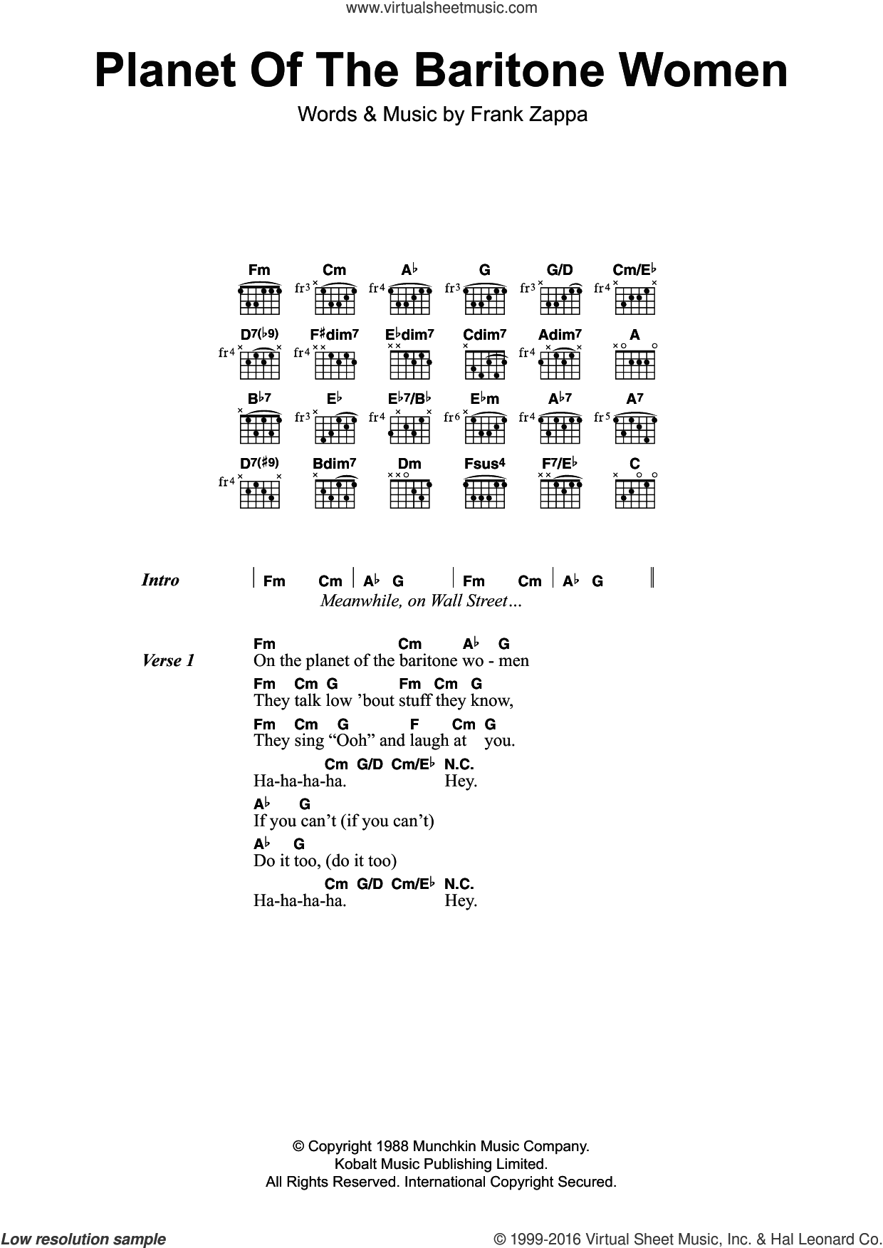 Planet Of The Baritone Women sheet music for guitar (chords) by Frank Zappa. Score Image Preview.