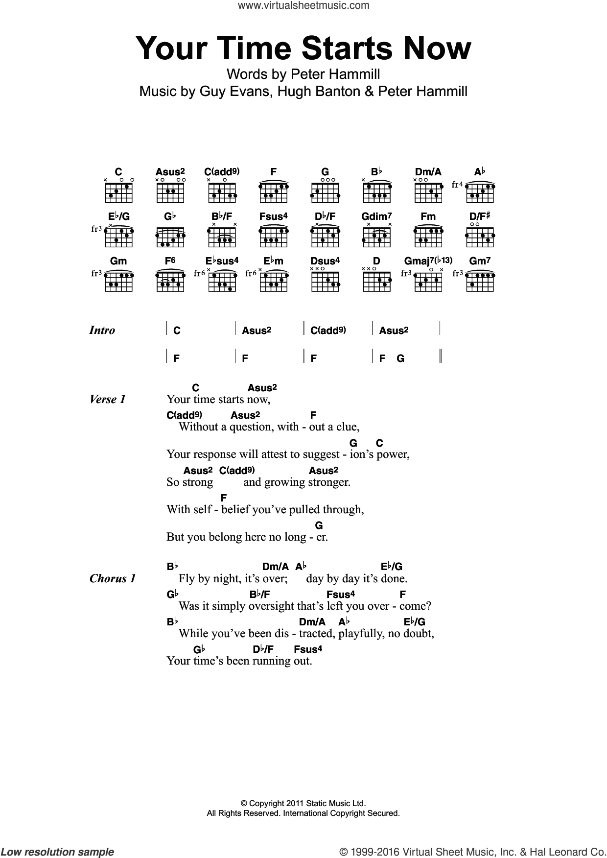 Your Time Starts Now sheet music for guitar (chords) by Van der Graaf Generator, intermediate guitar (chords). Score Image Preview.