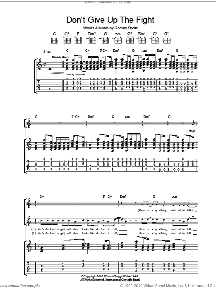 Don't Give Up The Fight sheet music for guitar (tablature) by The Magic Numbers and Romeo Stodart, intermediate skill level