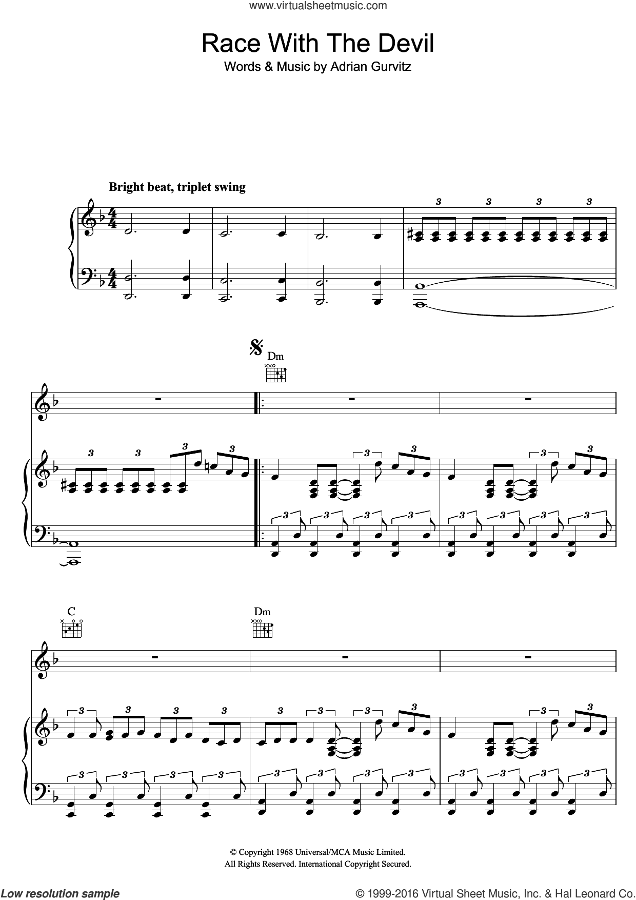 Race With The Devil sheet music for voice, piano or guitar by Adrian Gurvitz. Score Image Preview.