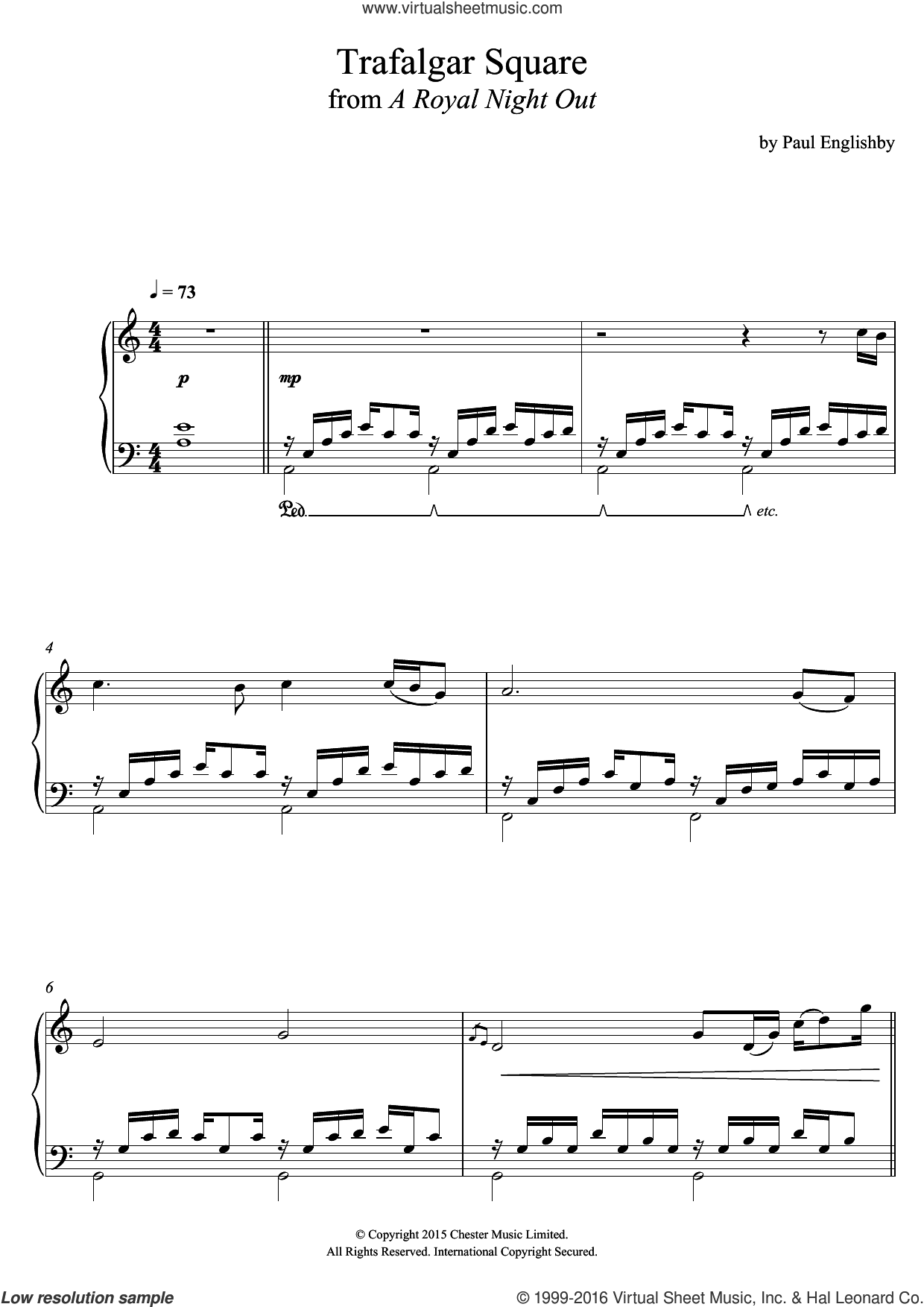 Trafalgar Square (From 'A Royal Night Out') sheet music for piano solo by Paul Englishby, intermediate skill level