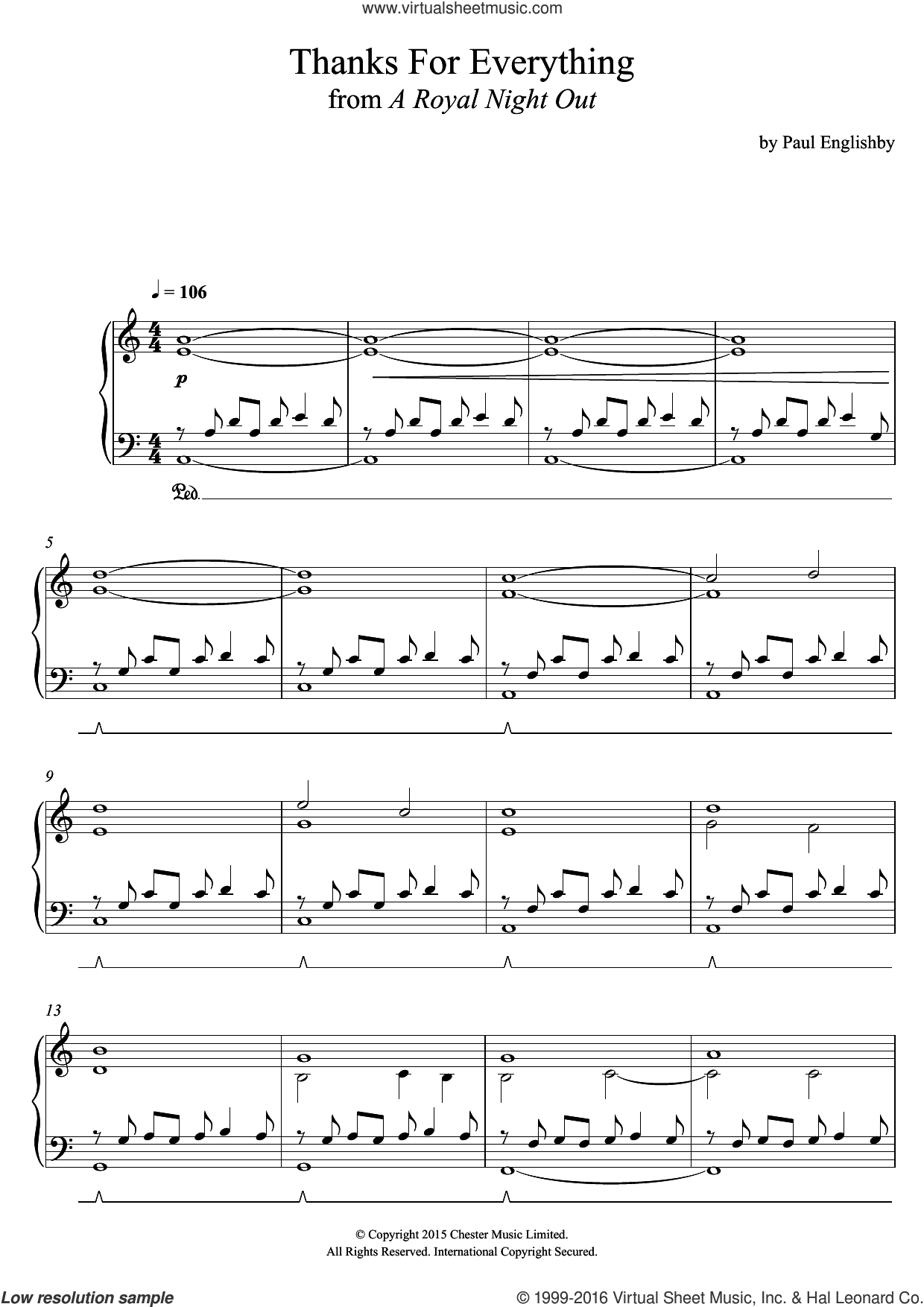 Thanks For Everything (From 'A Royal Night Out') sheet music for piano solo by Paul Englishby, intermediate skill level