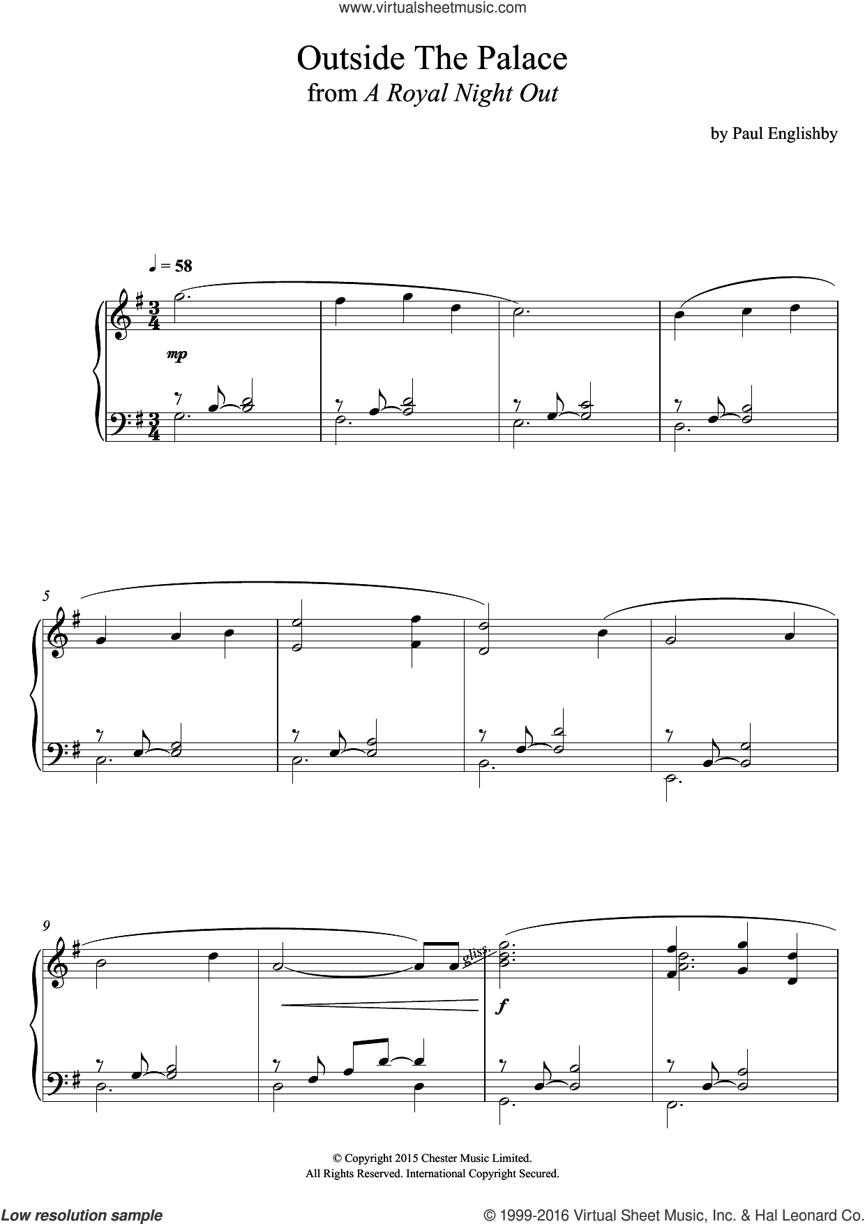 Outside The Palace (From 'A Royal Night Out') sheet music for piano solo by Paul Englishby, intermediate skill level