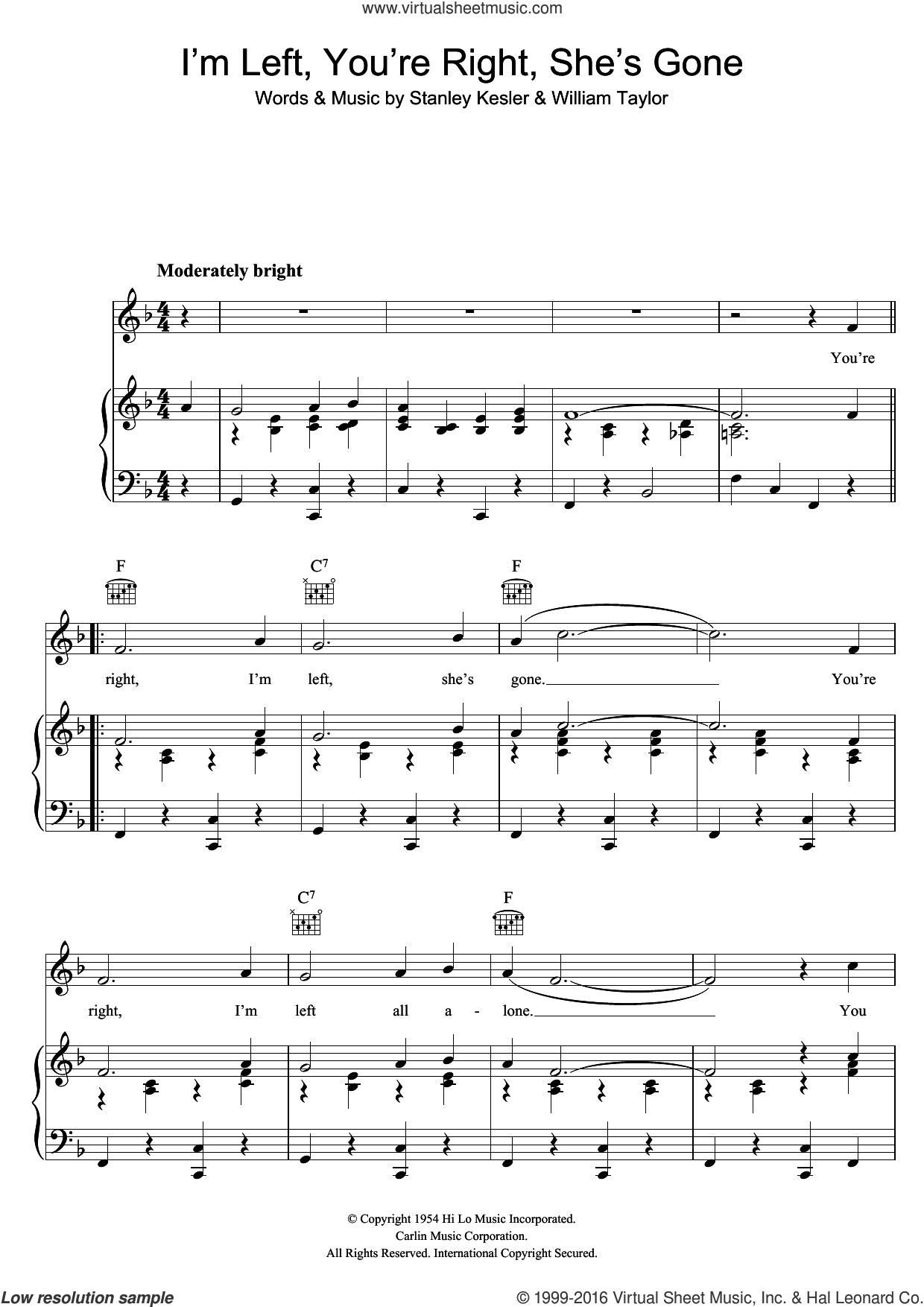 I'm Left, You're Right, She's Gone sheet music for voice, piano or guitar by Elvis Presley, Stanley Kesler and William Taylor, intermediate skill level