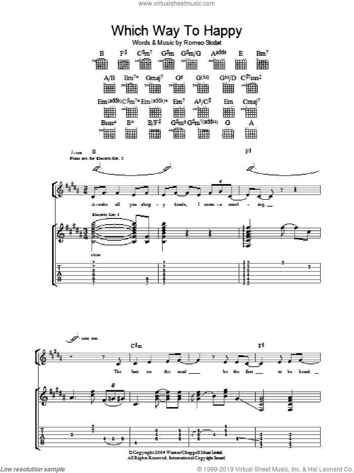 Which Way To Happy sheet music for guitar (tablature) by Romeo Stodart