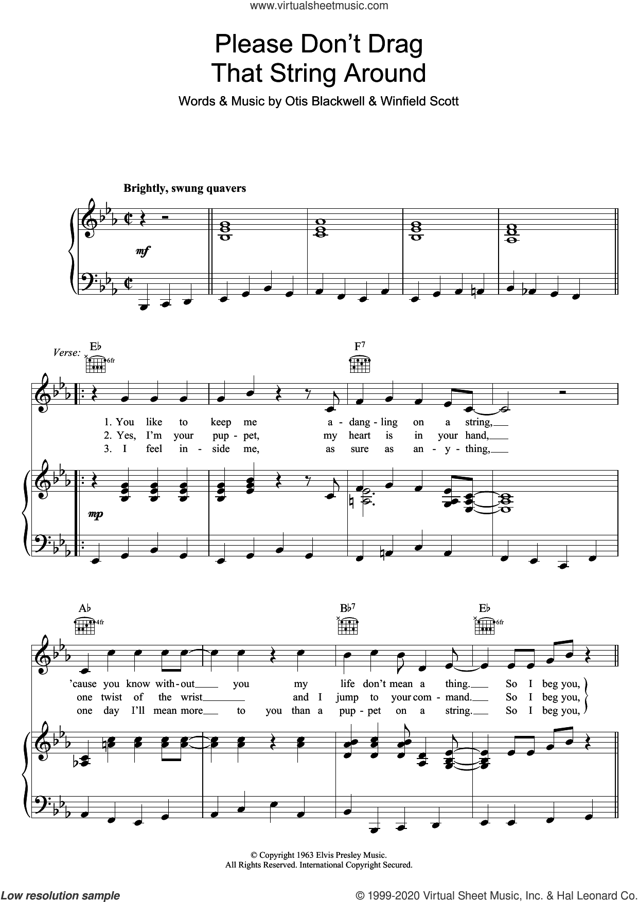 Please Don't Drag That String Around sheet music for voice, piano or guitar by Elvis Presley, Otis Blackwell and Winfield Scott, intermediate skill level