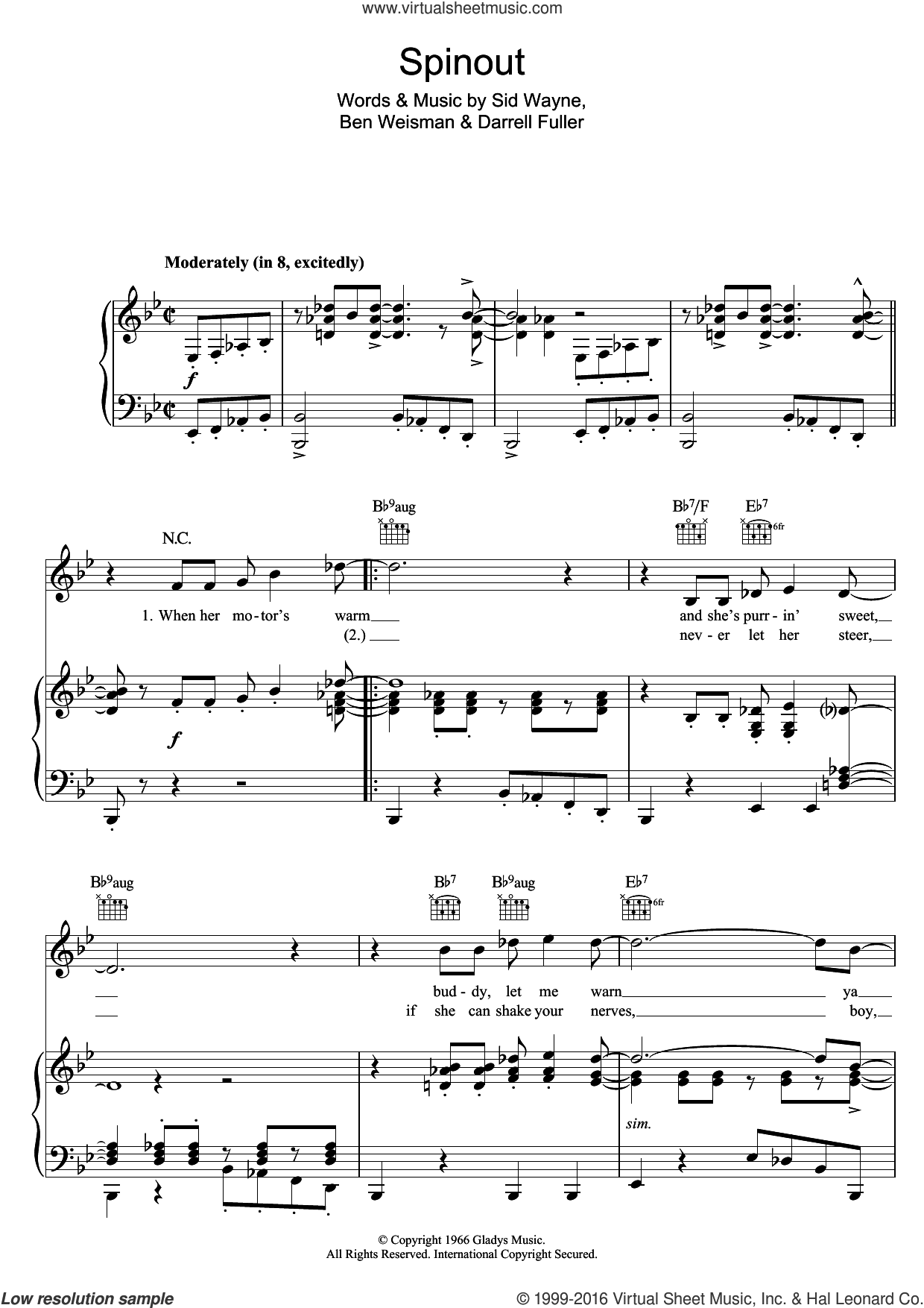 Spinout sheet music for voice, piano or guitar by Ben Weisman, Elvis Presley and Sid Wayne. Score Image Preview.