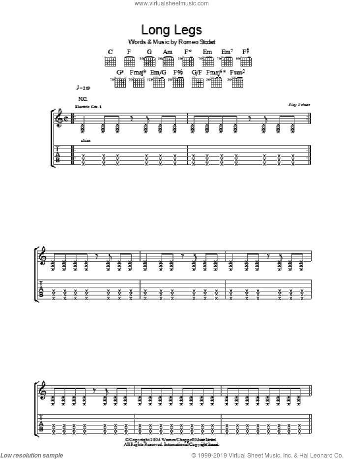 Long Legs sheet music for guitar (tablature) by Romeo Stodart. Score Image Preview.