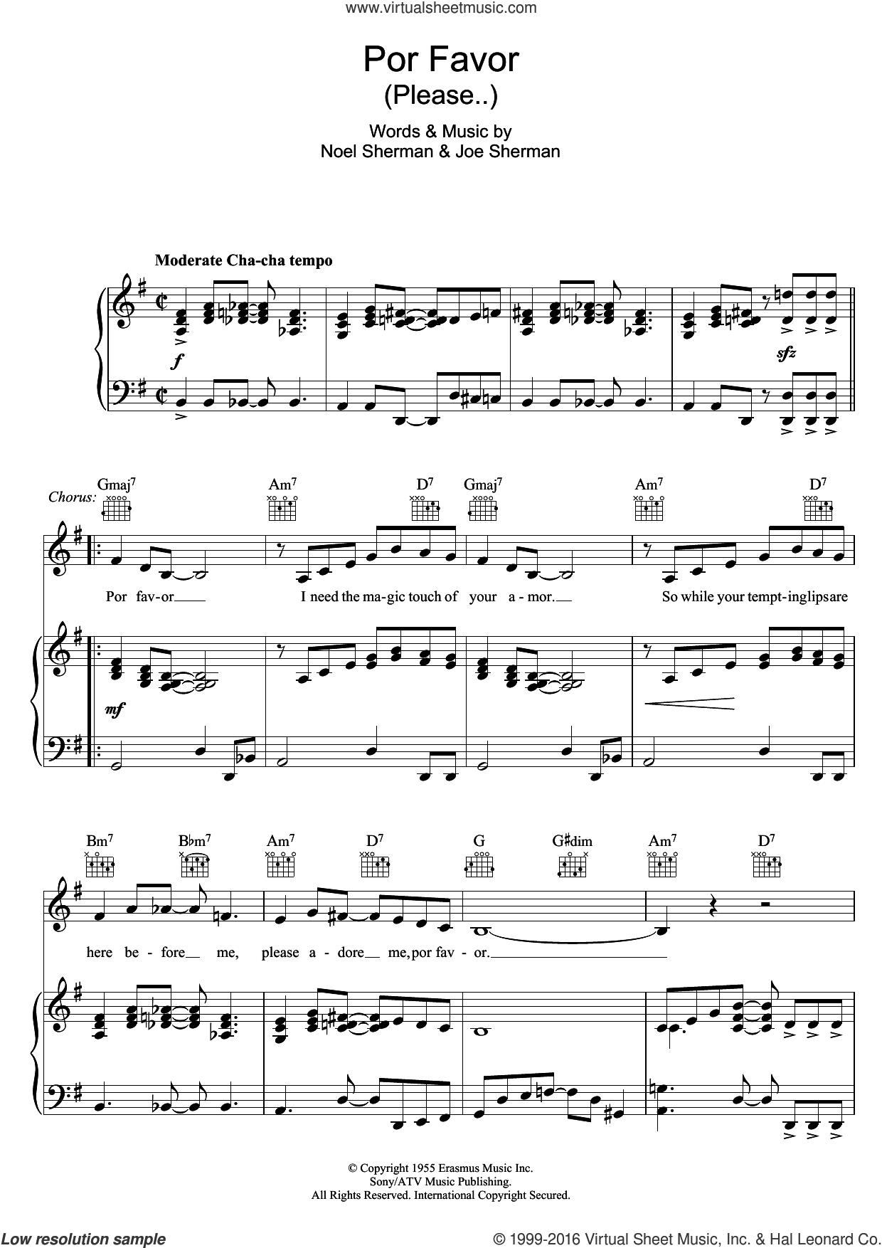 Por Favor sheet music for voice, piano or guitar by Doris Day, Joe Sherman and Noel Sherman, intermediate skill level
