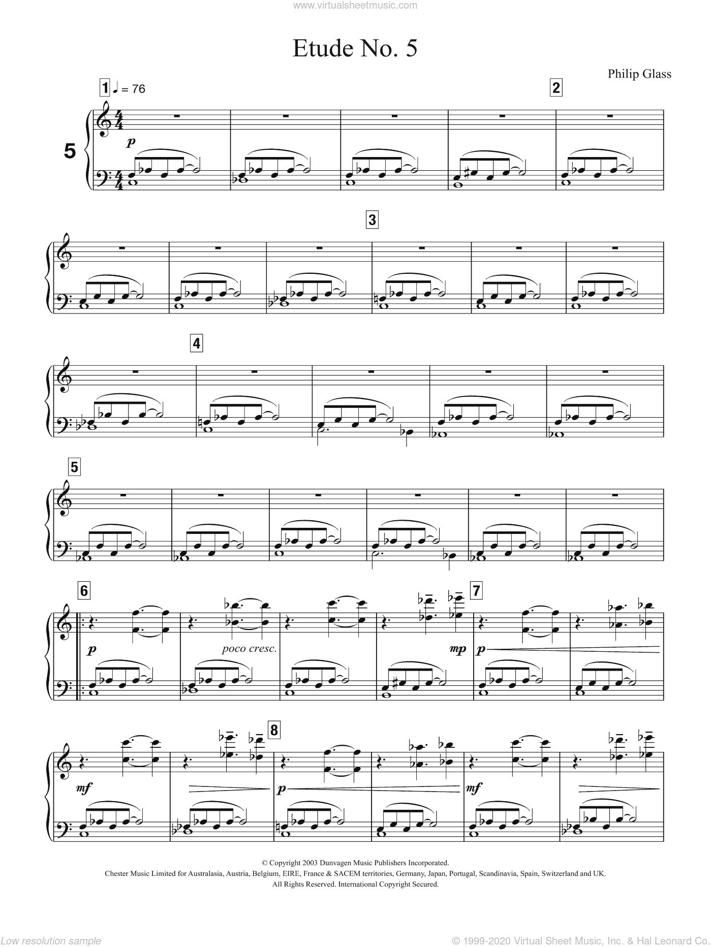 Glass Etude No 5 Sheet Music For Piano Solo Pdf