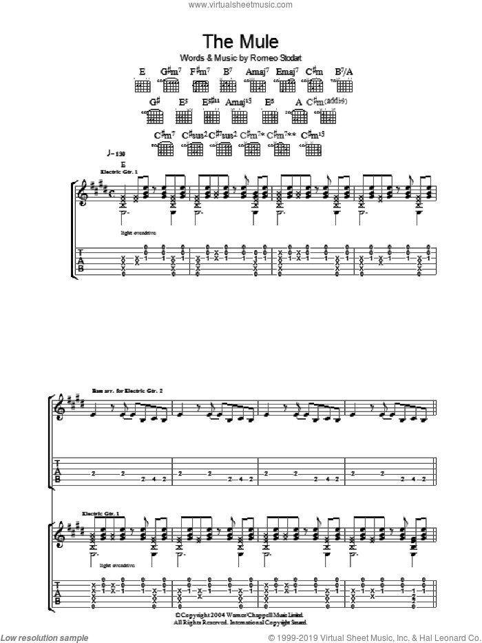 The Mule sheet music for guitar (tablature) by Romeo Stodart