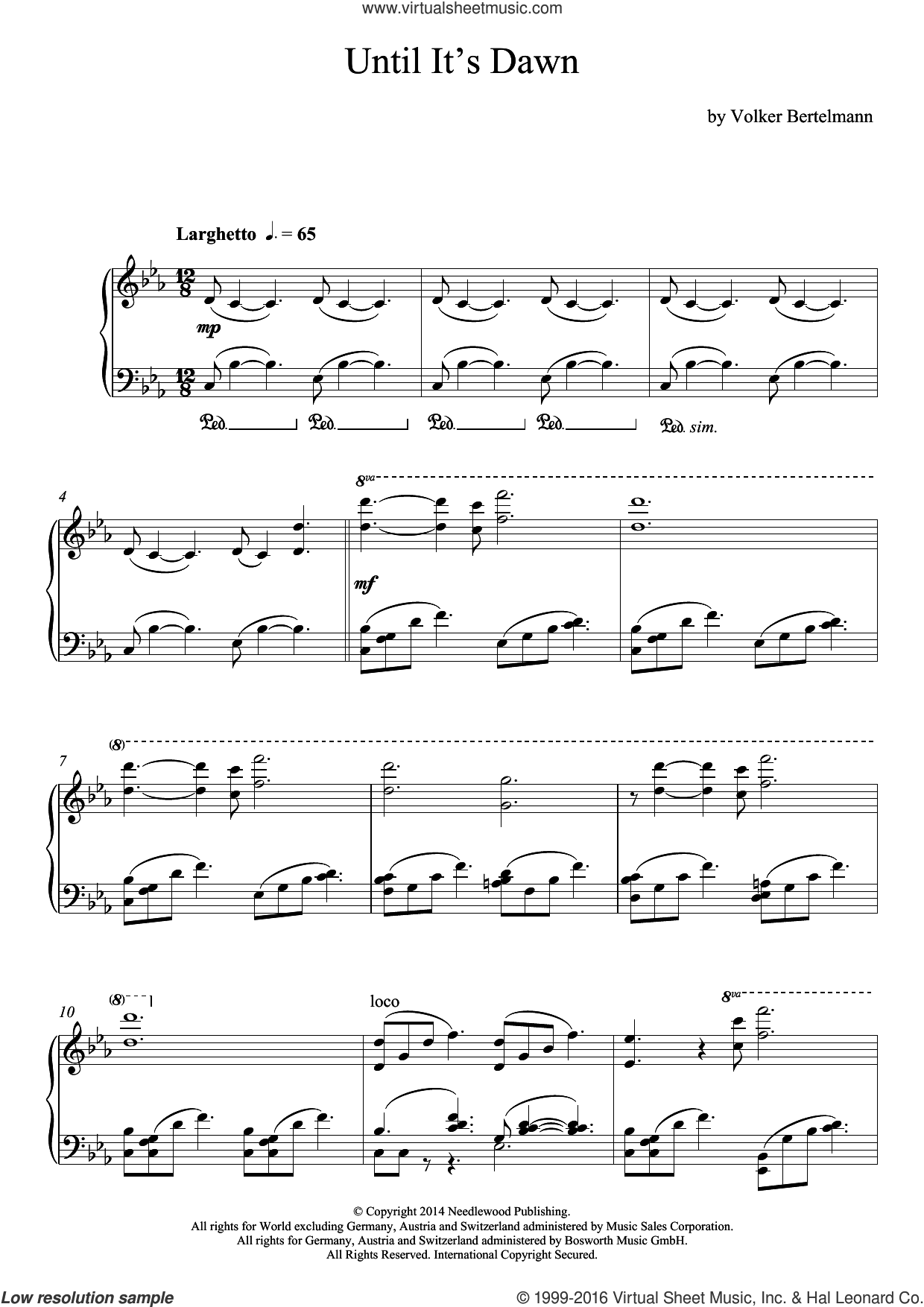 Until It's Dawn sheet music for piano solo by Hauschka and Volker Bertelmann, classical score, intermediate skill level