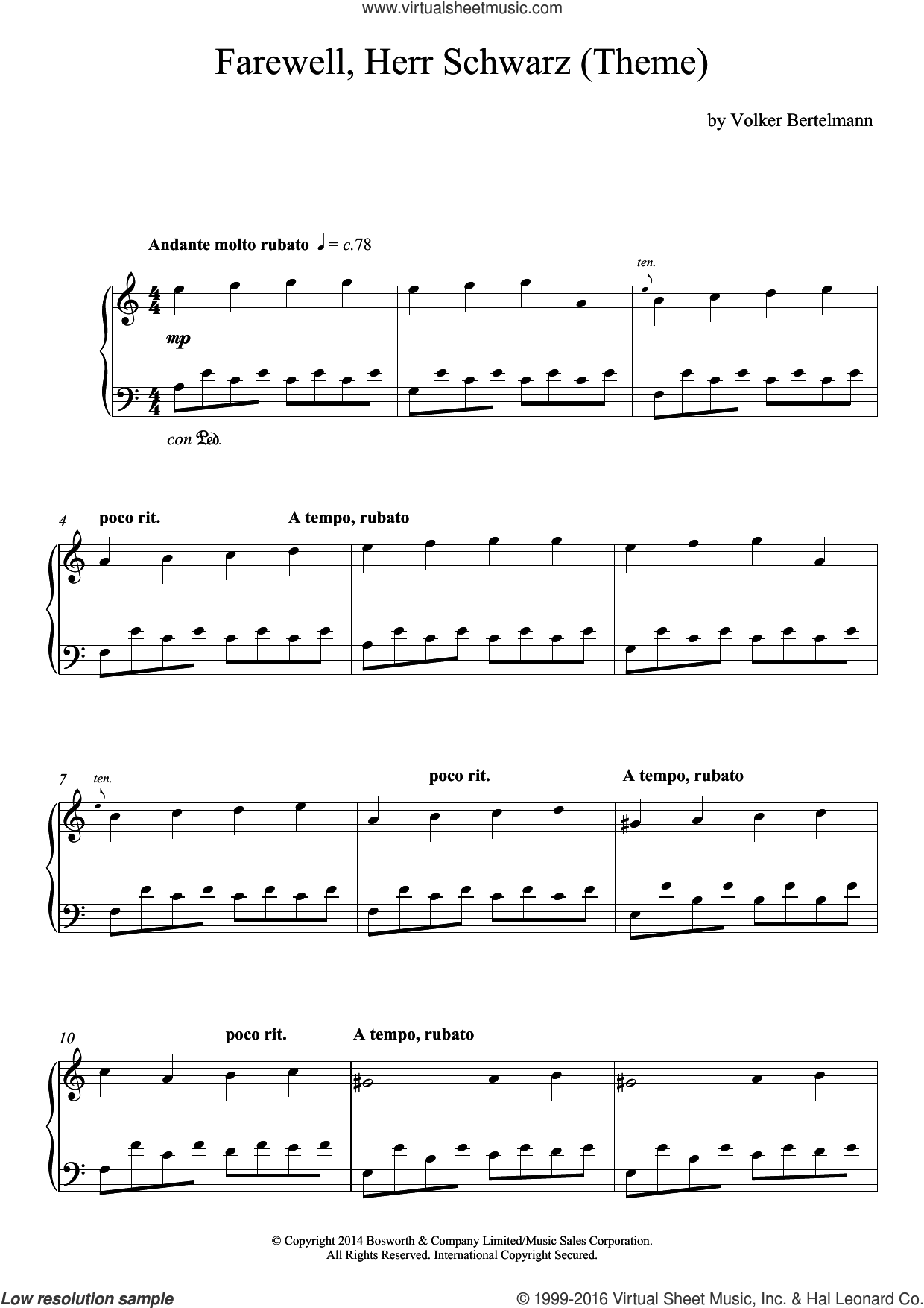 Farewell, Herr Schwarz (Theme) sheet music for piano solo by Hauschka and Volker Bertelmann, classical score, intermediate skill level