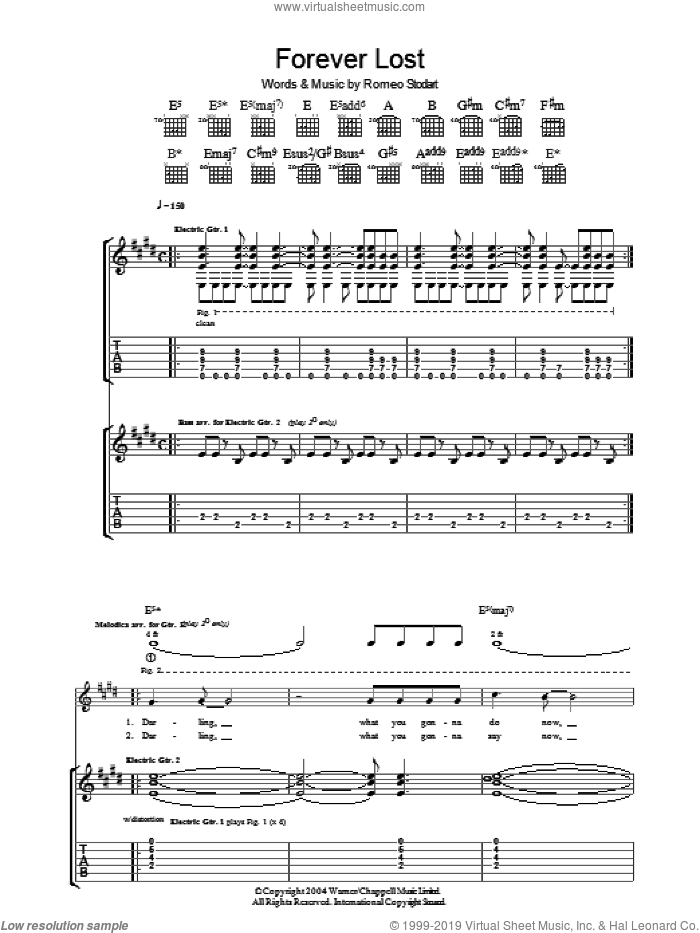 Forever Lost sheet music for guitar (tablature) by Romeo Stodart. Score Image Preview.