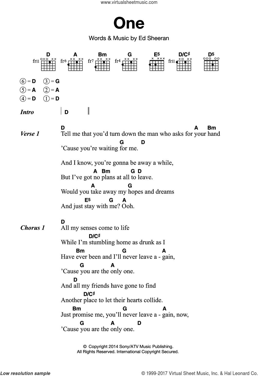 Sheeran   One sheet music for guitar chords [PDF] v15
