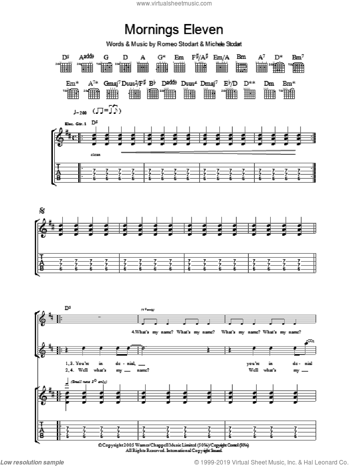 Mornings Eleven sheet music for guitar (tablature) by The Magic Numbers and Romeo Stodart, intermediate skill level