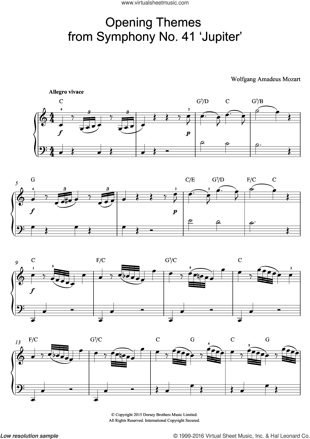 Opening Themes from Symphony No. 41 'Jupiter' sheet music for voice, piano or guitar by Wolfgang Amadeus Mozart. Score Image Preview.