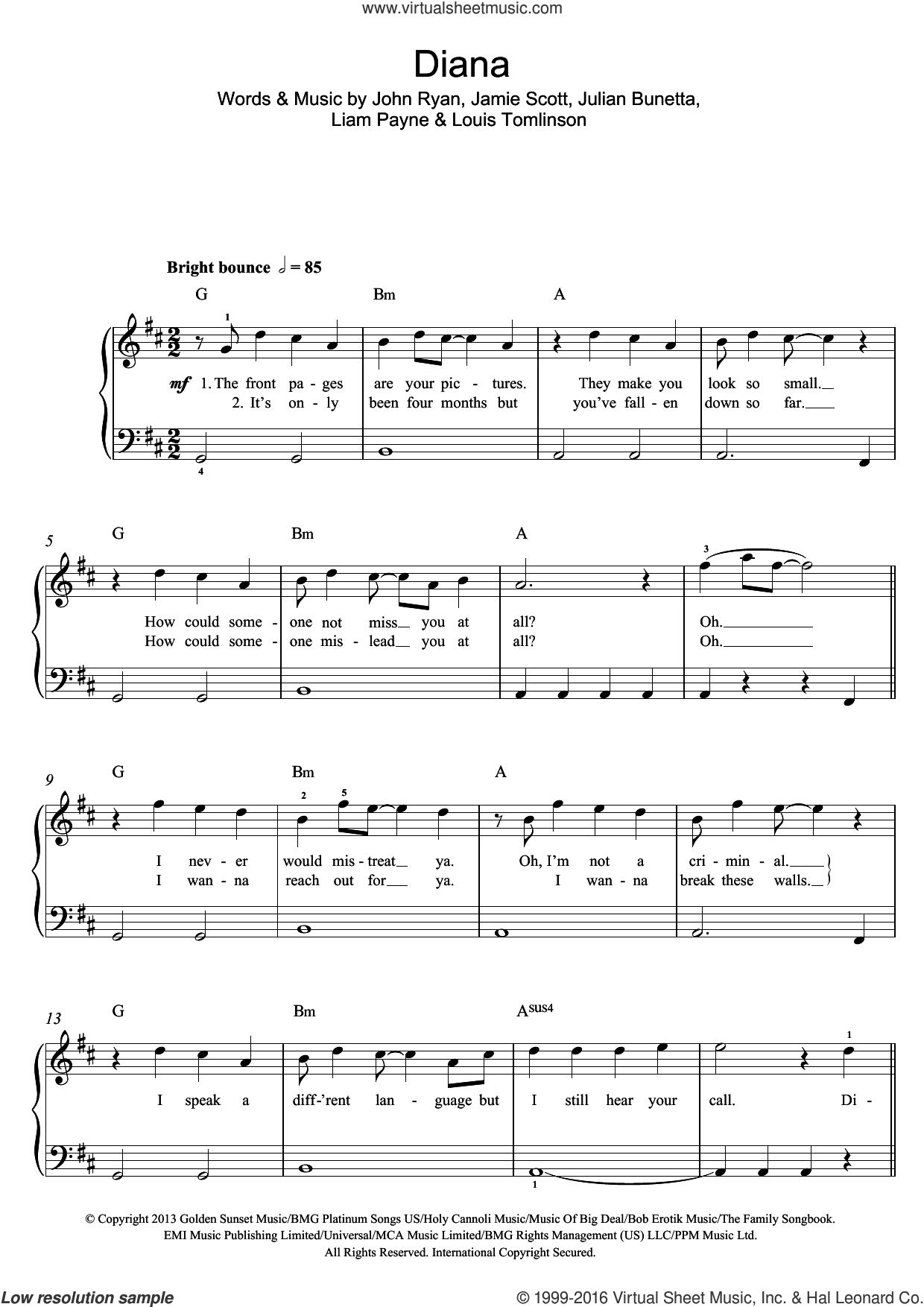 Diana sheet music for voice, piano or guitar by Jamie Scott, One Direction, John Ryan, Julian Bunetta and Louis Tomlinson. Score Image Preview.