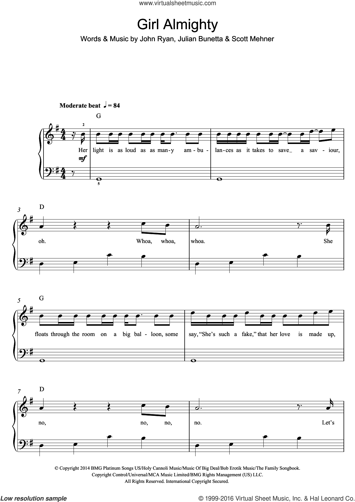 Girl Almighty sheet music for voice, piano or guitar by One Direction, John Ryan, Julian Bunetta and Scott Mehner, intermediate skill level