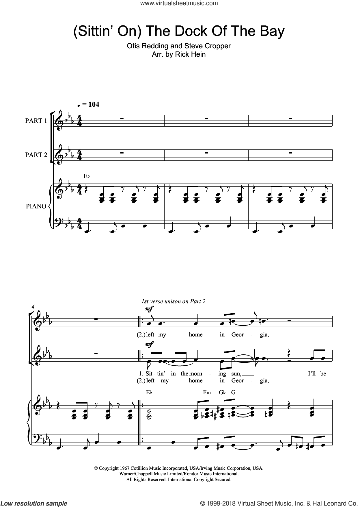 (Sittin' On) The Dock Of The Bay sheet music for choir by Steve Cropper and Otis Redding. Score Image Preview.