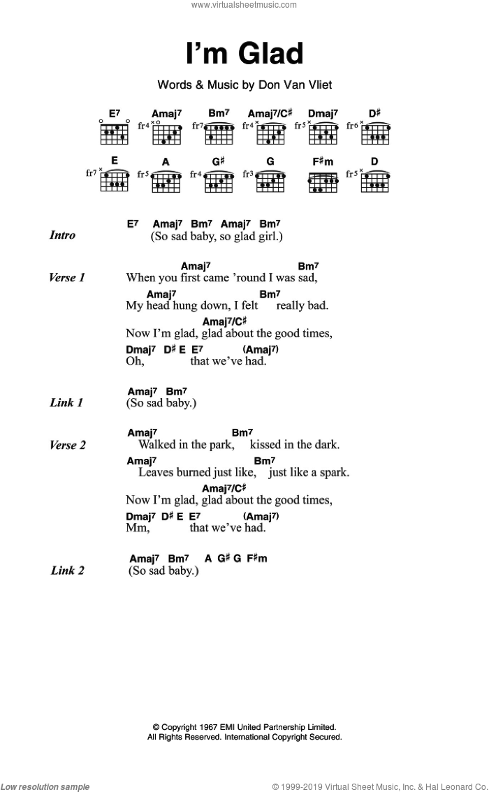 Beefheart Im Glad Sheet Music For Guitar Chords Pdf
