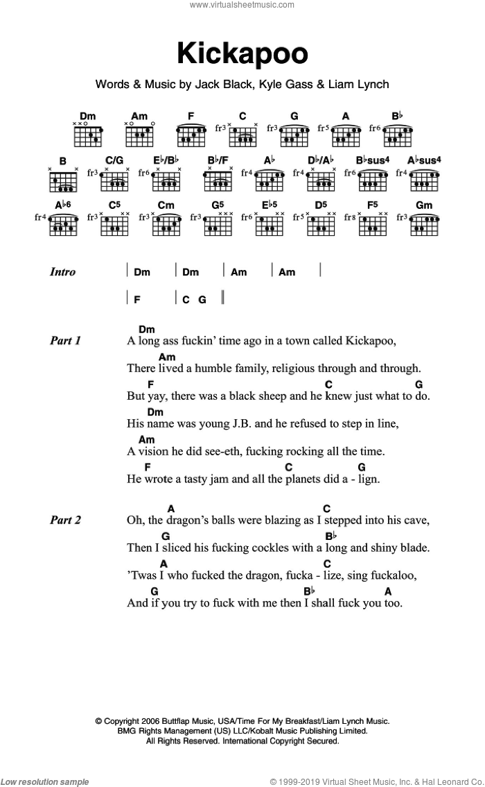 Kickapoo sheet music for guitar (chords) by Tenacious D, Jack Black and Liam Lynch. Score Image Preview.