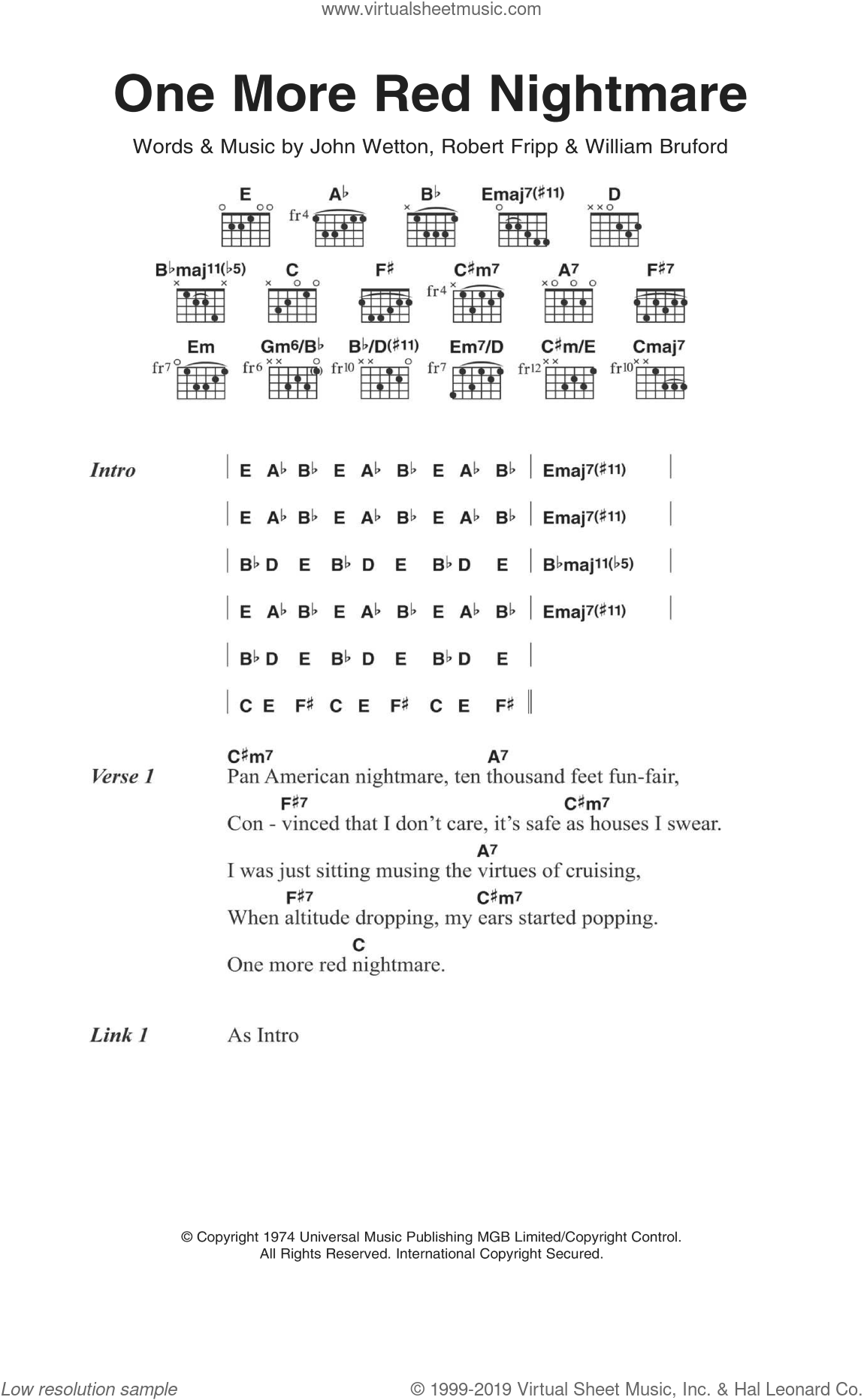 One More Red Nightmare sheet music for guitar (chords) by King Crimson, John Wetton, Robert Fripp and William Bruford, intermediate skill level