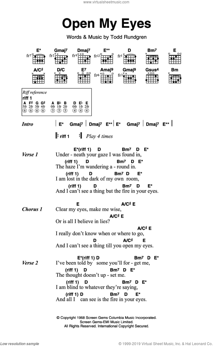 Nazz - Open My Eyes sheet music for guitar (chords) [PDF]