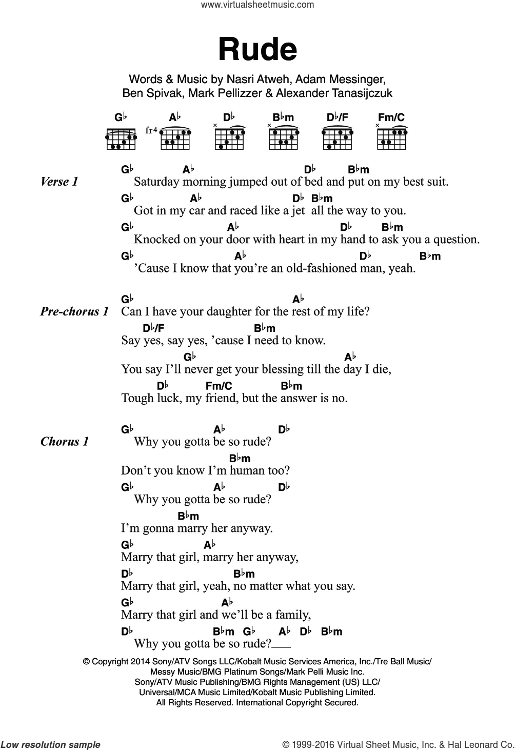 Rude sheet music for guitar (chords) by Adam Messinger and Nasri Atweh. Score Image Preview.