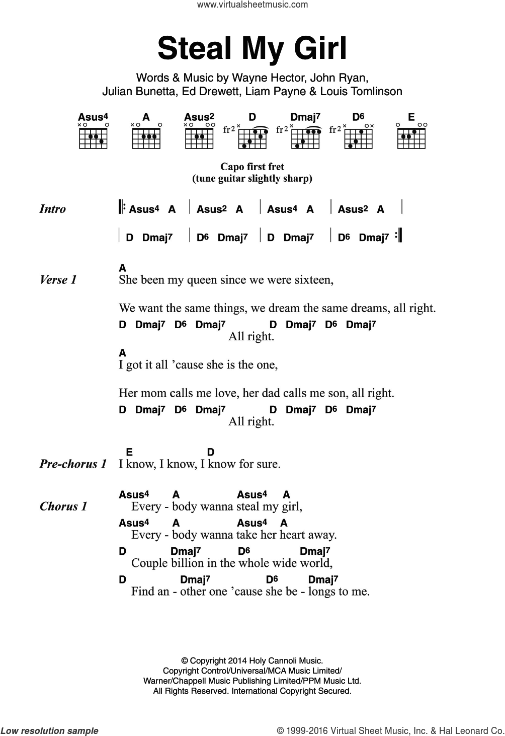 Direction   Steal My Girl sheet music for guitar chords [PDF]