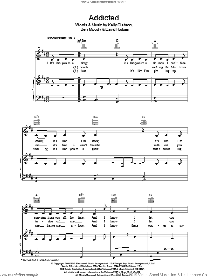 Addicted sheet music for voice, piano or guitar by Kelly Clarkson and David Hodges, intermediate skill level