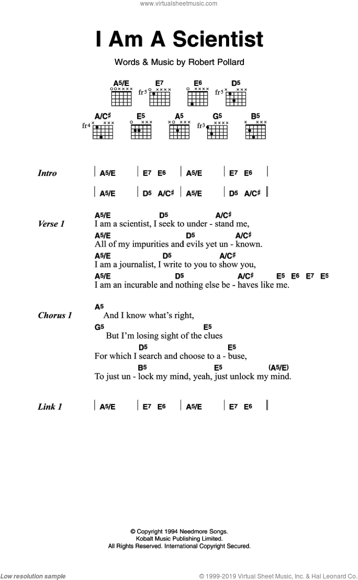 I Am A Scientist sheet music for guitar (chords) by Robert Pollard. Score Image Preview.