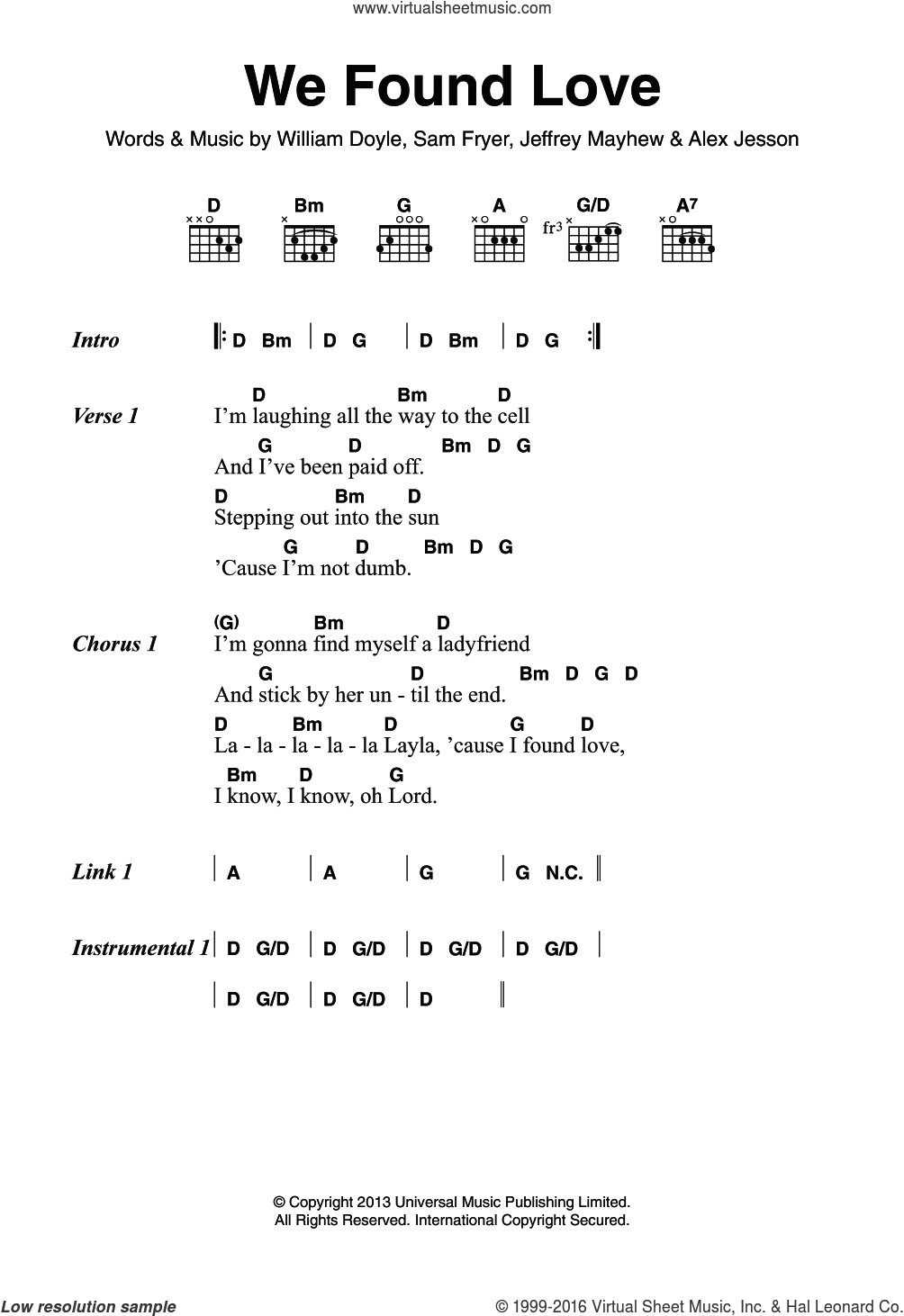 We Found Love sheet music for guitar (chords) by Alex Jesson and William Doyle. Score Image Preview.