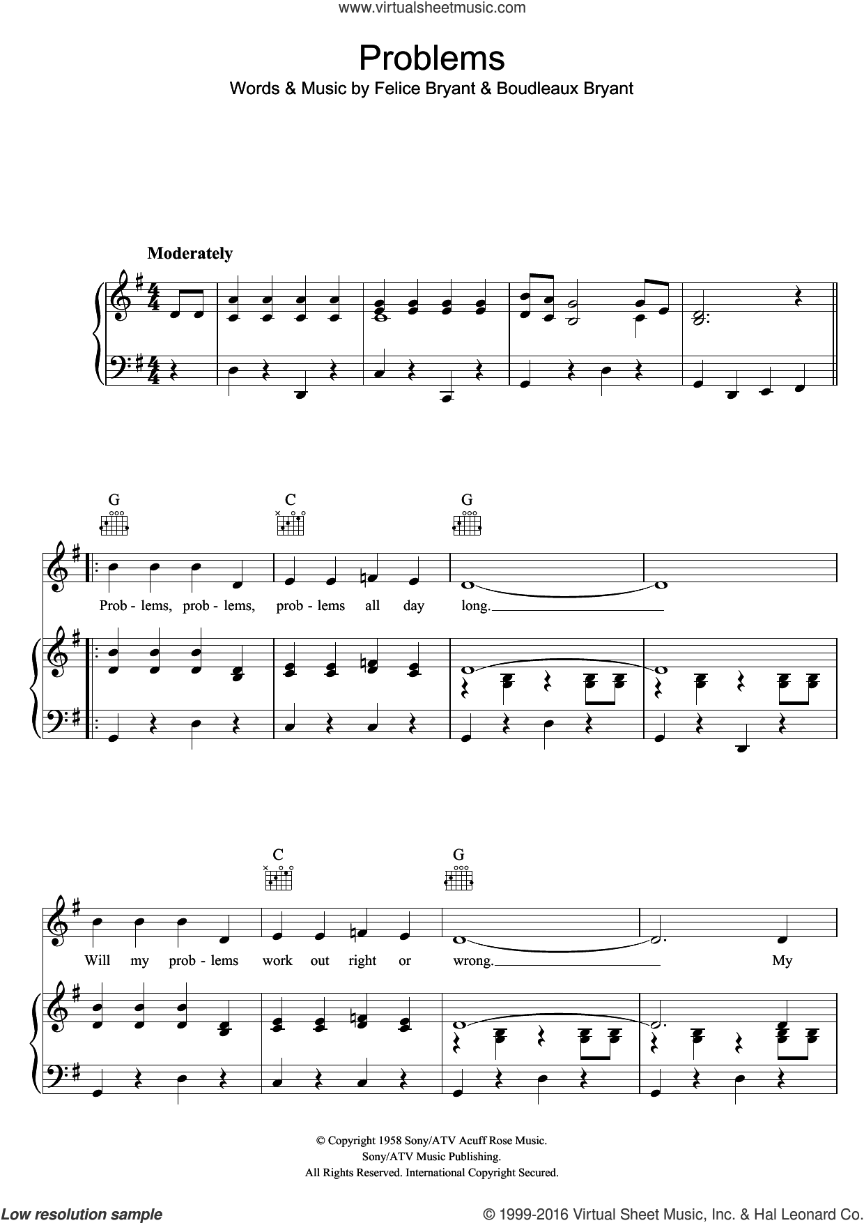 Problems sheet music for voice, piano or guitar by The Everly Brothers, Boudleaux Bryant and Felice Bryant, intermediate skill level