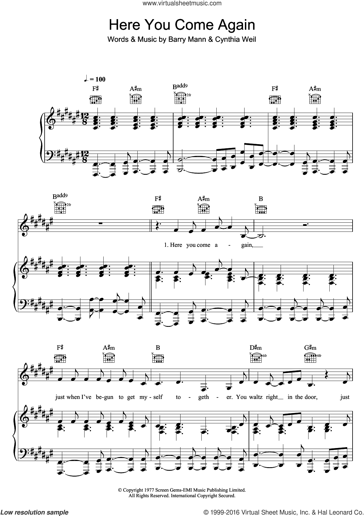Here You Come Again sheet music for voice, piano or guitar by Dolly Parton, Barry Mann and Cynthia Weil, intermediate. Score Image Preview.