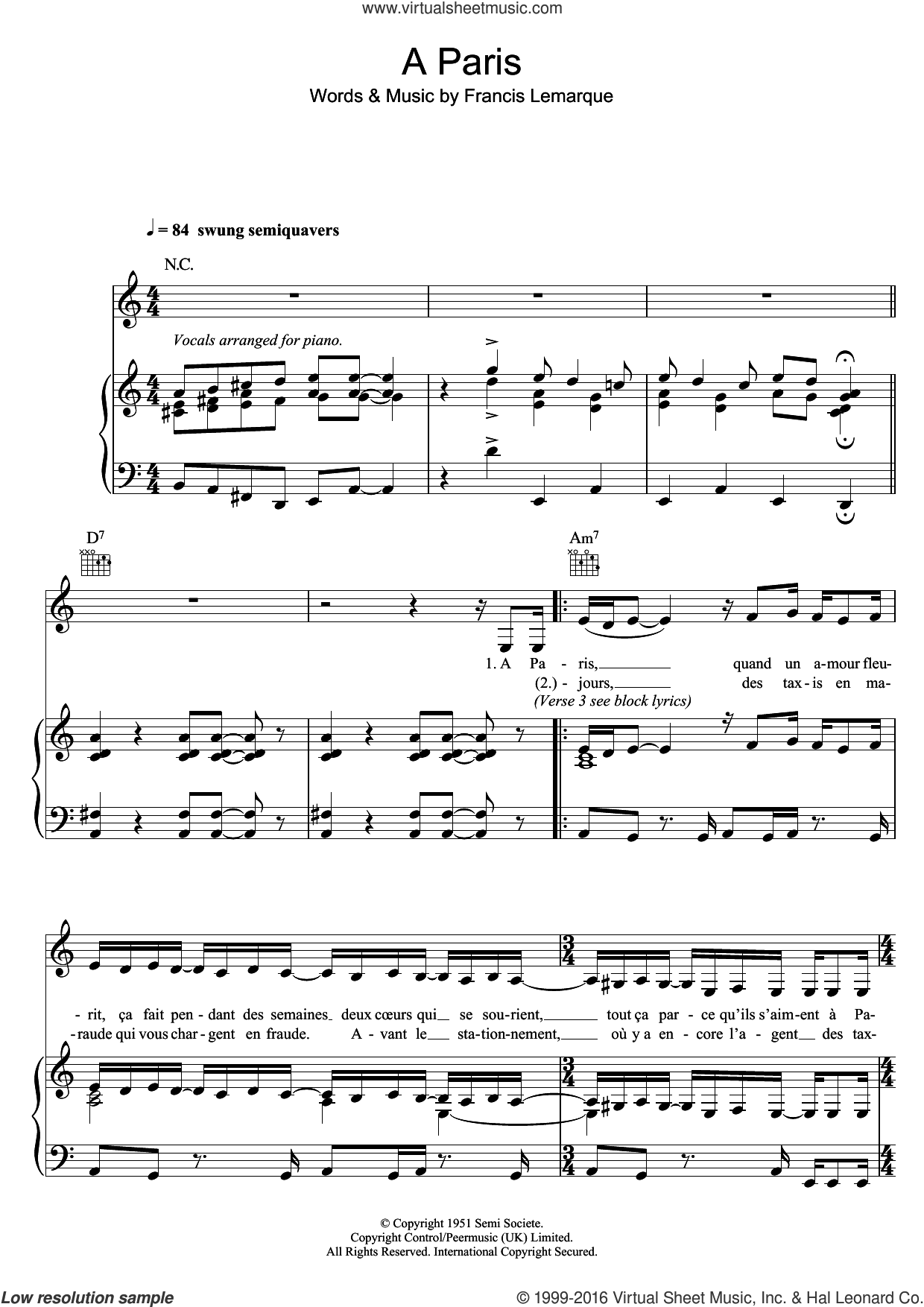 A Paris sheet music for voice, piano or guitar by Zaz and Francis Lemarque, intermediate skill level