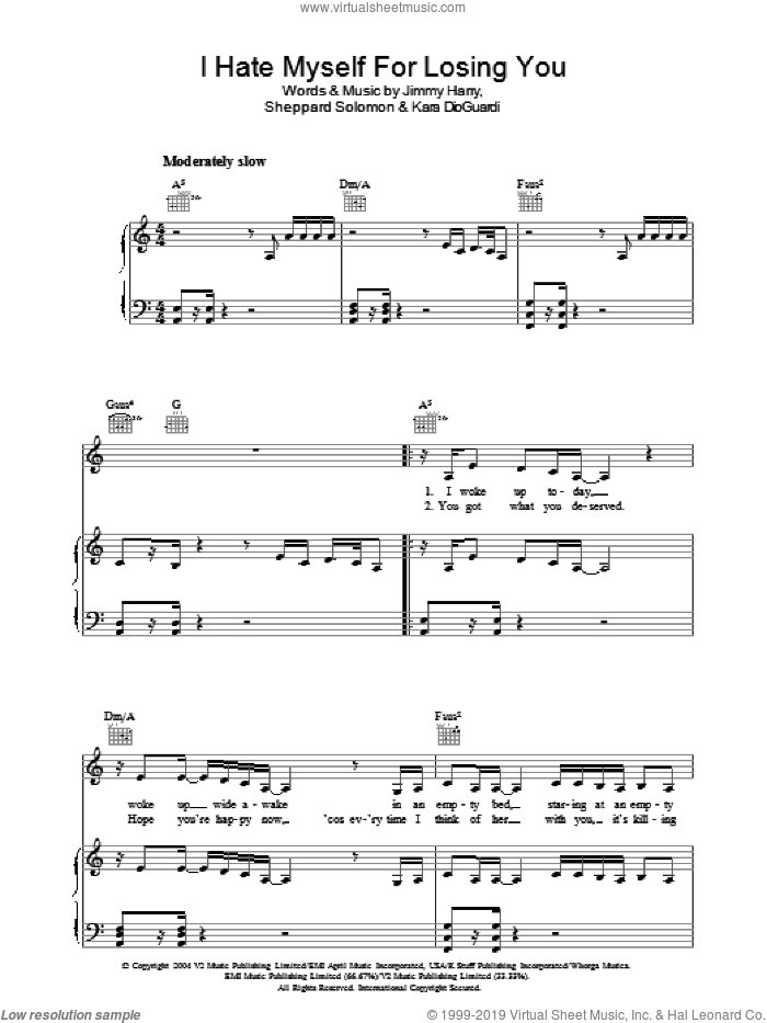 I Hate Myself For Losing You sheet music for voice, piano or guitar by Jimmy Harry, Kelly Clarkson, Kara DioGuardi and Sheppard Solomon. Score Image Preview.