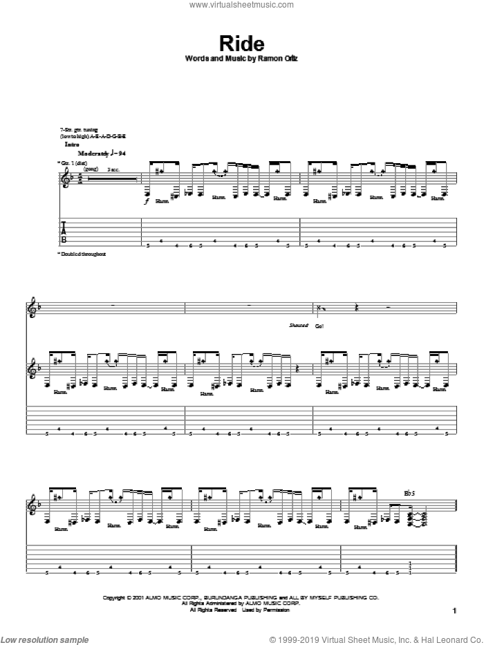 Ride sheet music for guitar (tablature) by Puya, intermediate guitar (tablature). Score Image Preview.