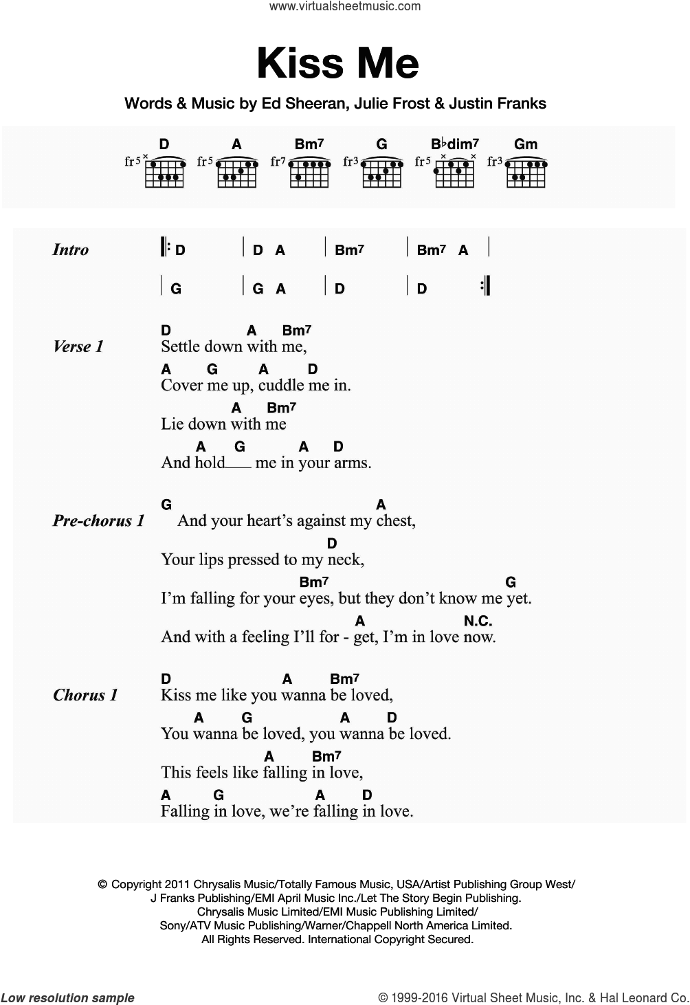 Kiss Me sheet music for guitar (chords) by Julie Frost, Ed Sheeran and Justin Franks. Score Image Preview.